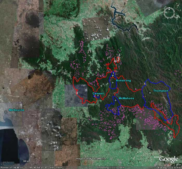Google Earth catchment overlays | Melbourne Water Catchment